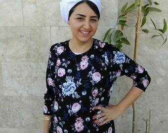 White head scarf, hijab, israeli tichels, jewish hair covering. headscarves by oshratDesignz