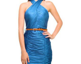 Laser Dark Blue Twist Neck Slinky Ruched Bodycon Dress With Thin Tan Brown Belt - Sizes Available: Small & Medium (Great Prom Dress)