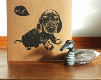 Sausage Dog, Animal linocut card, Original Hand Printed Card, Blank Greeting Card, Brown Kraft Card, Free Postage in UK,