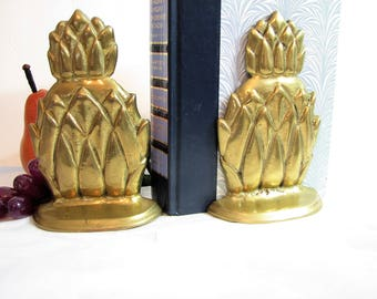 Mid-Century Brass Pineapple Bookends, Pair, Set of 2 ... Textured Brass, Detailed, Solid Brass