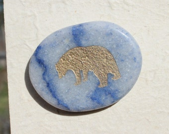 Button Gold Bear on Lapis