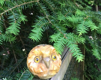 Vintage Stone Owl Carved Paperweight Round Paper Weight - #F5073