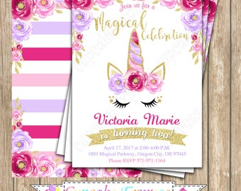 Unicorn Invitation, unicorn party, Magical unicorn invitation, unicorn birthday invitation, 1st birthday, girls first birthday, PRINTABLE