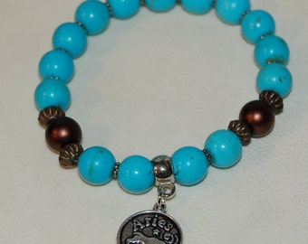 Aries Zodiac Sign Gemstone Charm Bracelet Magnesite Bracelet Stackable Zodiac Jewelry Calming Meditation Bracelet for Her