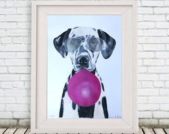 Dalmatian Painting, handpainted on high quality 250g Art paper, Dalmatian Art, by painter Coco de Paris: Dalmatian with bubblegum