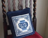 Vintage Sapphire Blue & White Embroidered Pillow - Asian, Zen, Boho, French Farmhouse
