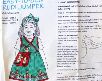 Daisy Kingdom Easy To Sew Rudi Jumper Dress for Girls , Size 2- 6 . Panel, Sew it Yourself . Gift for Granddaughter . Christmas Holiday