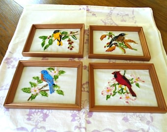 Crewel Embroidered Birds Set Of 4/ Vintage / Framed Bird Pictures / Blue Bird / Cardinal / Birds And Blooms / Birds And Flowers /Yellow Bird