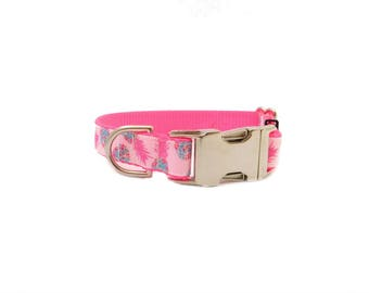 Pineapple Dog Collar Personalized Collar in Pink, Pet ID Dog Collar in Neon Pink PIneapples