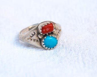 Turquoise and Red Coral Ring Size 4 Vintage Sterling Silver Southwest Boho Jewelry Pinky Ring