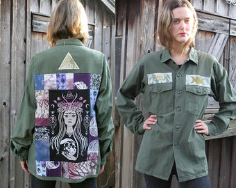 The High Priestess Army Jacket - Vintage, Feminist, Patchwork, One of a Kind