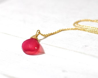 Pink Chalcedony Necklace / Pink Stone Necklace  / Fuscha Pink Stone Gold Necklace  / Gift For Her