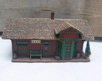 Hays Train Station / Hallmark Hall of Fame Reproduction / Sarah Plain & Tall Collection / Christmas Decor / Vintage 1994 / Train Depot