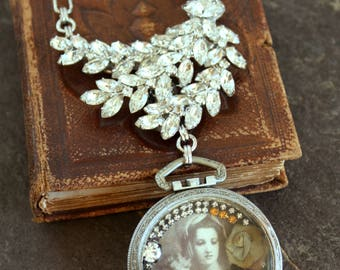 Assemblage Necklace A Young Mother devotional child rhinestone brooch pocket watch shadowbox stunning statement bridal  jewelry pendant