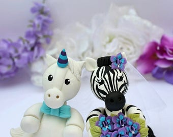 Wedding custom cake topper, zebra and unicorn bride and groom cake topper, animal cake topper with banner