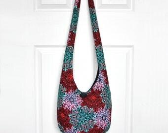 Hobo Bag Boho Bag Hippie Purse Crossbody Bag Sling Bag Hippie Bag Bohemian Purse Hobo Purse Slouchy Bag Lace Doily Hobo Bag Fabric Purse