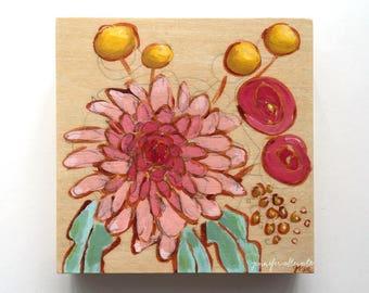 Original small painting modern flower bouquet -  A Bouquet for Nena