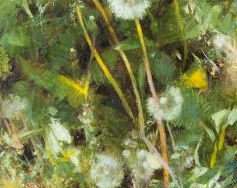 Dandelion Art Oil Painting Original Fine Art Botanical Floral Flower Wildflower Yellow Green Rustic Charming Summer Nature Lover Gift 9x12