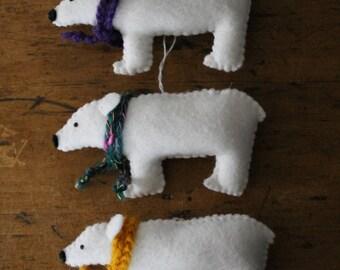 Felt Polar Bear Christmas Tree Decoration with crochet scarf