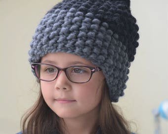 Chunky Knitted Ombré Hat / Gift for Her / Extrafine Merino Wool Knit Pom Pom Hat