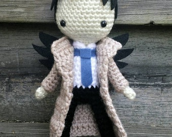 Supernatural Inspired  Misha Collins Castiel Crocheted Amigurumi Doll