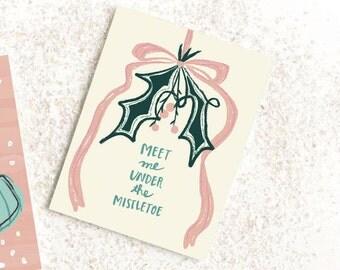 Christmas Cards, Christmas Card Set, Holiday Card Set, Christmas card for husband, Vintage inspired, Vintage card, Mistletoe Christmas Card