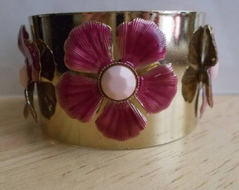 SALE Silver Tone Cuff Bracelet with Pink Enamel Flowers with Yellow Centers