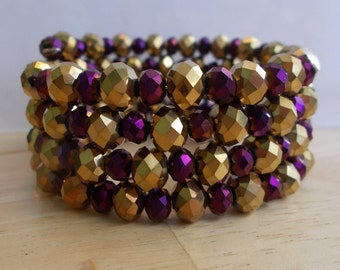 4 Row Memory Wire Cuff Bracelet with Purple and Gold Crystal Beads