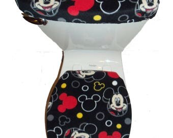 DISNEY MICKEY MOUSE Heads Black Fleece Fabric Toilet Seat Cover Set  Bathroom Accessories