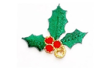Christmas - Christmas Holly - Embroidered Iron On Applique Patch