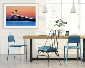Bridge Photography, Ocean Seascape Print, Newport RI Bridge Photo, Coastal Wall Decor, Modern Interior Decor, Blue Orange Red, Large Art