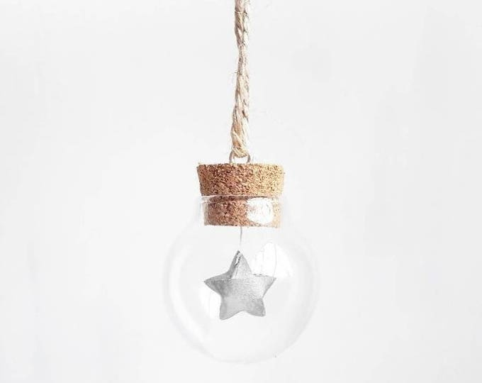 Tiny bauble with a mini silver paper origami star - Christmas tree decoration - Christmas ornaments - ornaments and accents