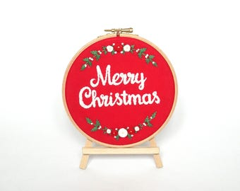 """Merry christmas embroidery decoration with floral wreath Red and white holiday ornament Xmas home decor Handmade Christmas wall art 5"""" hoop"""