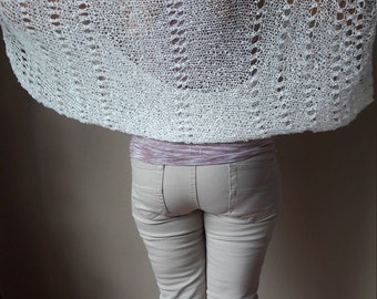 Knitted  Shrug Bolero Summer Shrug Lace White Boucle Yarn