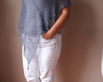 Poncho Hand Knitted Shawl Capelet Shrug Gray Cotton Loose Knit Summer Poncho