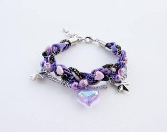 purple bracelet - ultra violet - galaxy - statement bracelet - cute bracelet - charm bracelet - kawaii bracelet - gift for girl