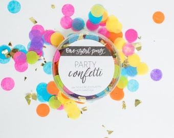 Party Confetti - Rainbow Bright - Neon Rainbow Confetti - Bright Rainbow Party Decorations
