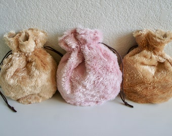 Candy Bags, Small Toy Bag, Pouch Bag in Bag, Drawstring Bag, Faux Fur