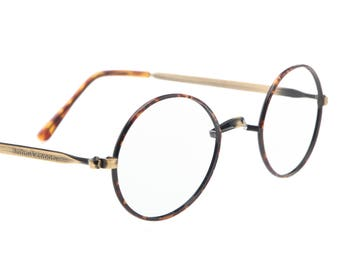 John Lennon signature brand tortoise & antiqued brass retro victorian style frames made in Italy, 1980 NOS