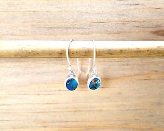 Copper Turquoise Earrings, Dainty Earrings, Dangly Earrings, Oval Earrings, Bezel Set Earrings, December Birthstone Jewelry, Blue Green