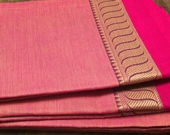 Pink south cotton saree