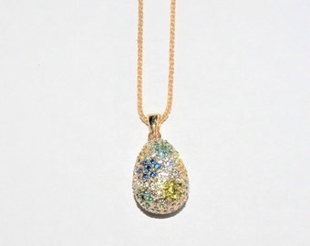 Joan Rivers Egg Necklace - Multi Color Crystals - S2405