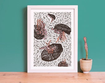 Invertebrate Series Moon Jellyfish Art Giclee Print