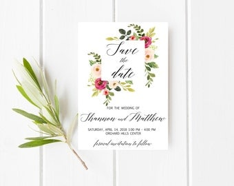 Floral save the date, Pink save the date, Blush save the date, Summer save the date, Greenery save the date, Burgundy Save The Date Postcard