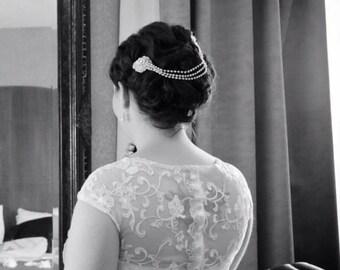 ON SALE Art Deco hair Chain , Vintage Style Wedding hair piece , Bridal headpiece, Wedding headpiece ,Bridal headband , Bridal halo,   UK
