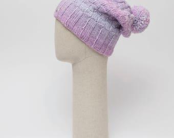 Slouchy beanie /  handmade slouchy hat / Warm slouch hat / pom pom beanie / baggy beanie / women slouchy beanie / winter hat / beanie women