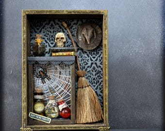 Witch Cabinet Miniature , Made to Order One of a Kind Gothic Home Decor Gift for Fantasy Lover Witches and Wizards Magical Halloween Decor