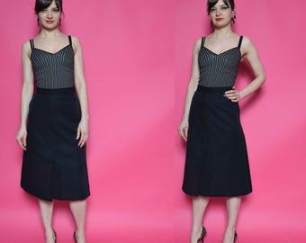 Vintage 80's Bell Shape Midi Skirt / Black High Waisted Skirt - Size Small