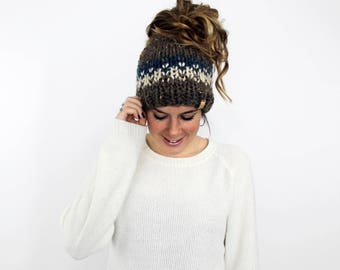 Bun Hat, Knit Ponytail Hat, Messy Bun Beanie, Headband Pony Tail , Running Hat- Patuxent Ponytail Hat