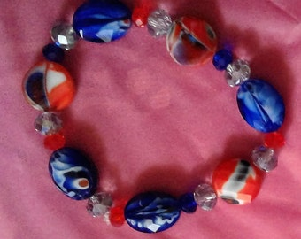 Blue and Red Glass Bead Stretchy Bracelet